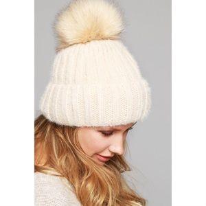 Knit Pom Beanie-BEIGE